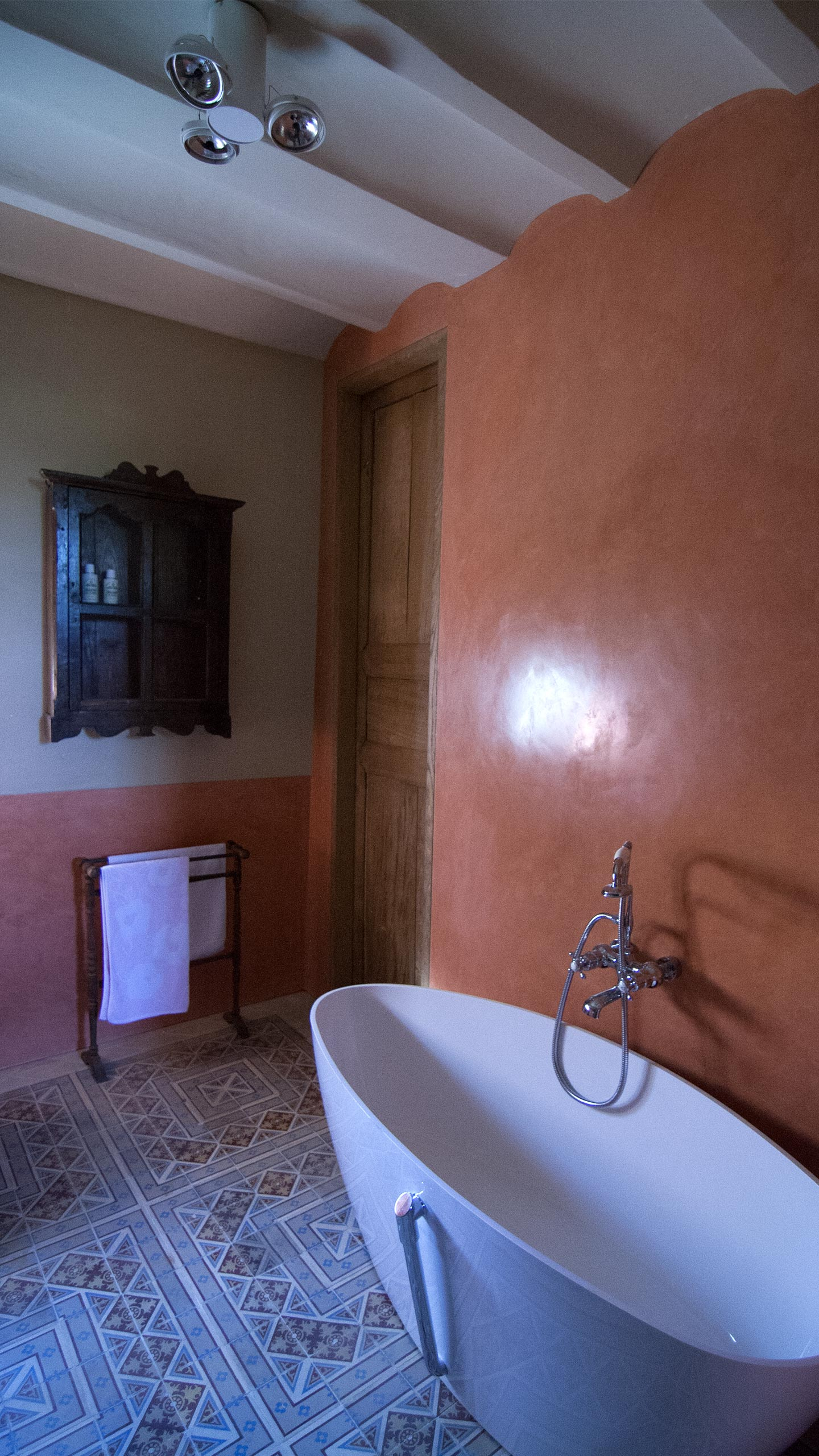 Residential - Coral red bathroom, Bath and shower